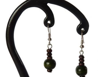 Dark green and dark brown wood earrings