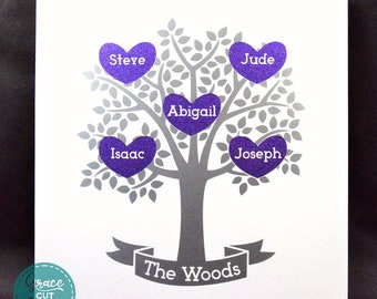 Family Tree Wall Art Personalised, Tree of Life, Up to 8 Names in Vinyl, Home Decor, Gift