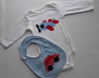 Car and airplane baby boy onesie and bib set - size 6 months