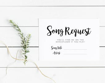 Wedding Request a Song Cards, Wedding RSVP with Song Request, Printable Song Request Card, Instant Download