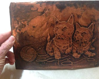 "Vintage copper cat pressed tin picture kittens playing with yarn and Dragonfly 8"" by 6"", copper and tin cat wall hanging, copper kitten"