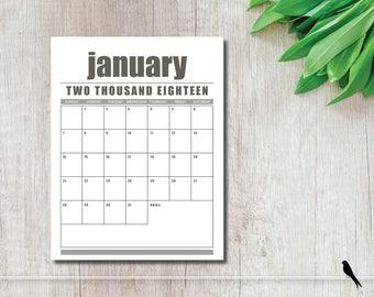 2018 Printable Wall Calendar - Rustic Brown, Modern, Portrait 12 Month Wall Calendar - Home Office Calendar - Instant Download Calendar