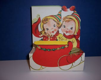 Vintage Unused Christmas Card, Pop Up Card, Boy and Girl in a Sleigh, Fold Out, 3D, 1950's Children's Greeting Card