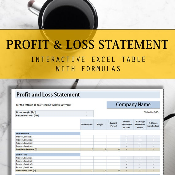 Profit and Loss Statement Excel Table with Interactive
