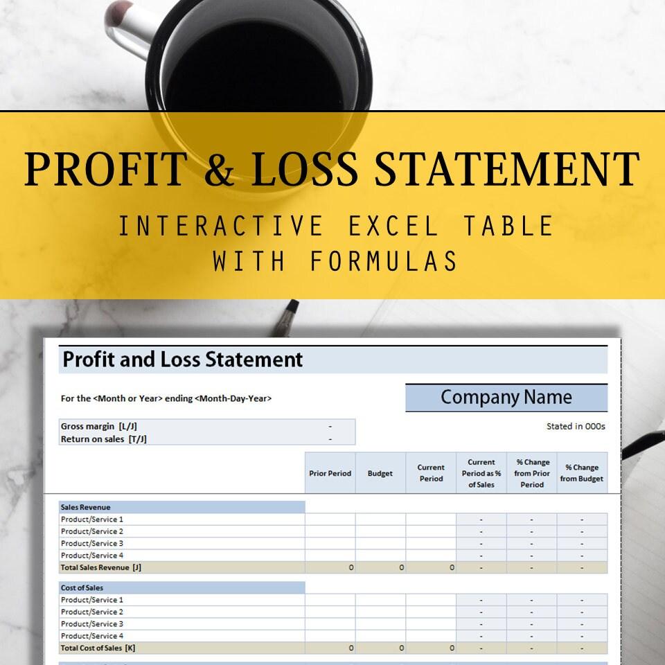 GuV Excel-Tabelle mit interaktiven Formeln Jährliche Tisch