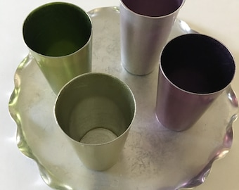 Vintage Aluminum Tray and 4 Tumblers
