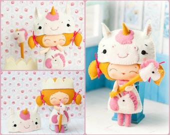 PDF Baby unicorn princess doll. Plush Doll Pattern, Softie Pattern, Soft felt Toy Pattern.