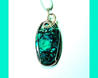 LARGE TIBETAN TURQUOISE Oval Shaped Wire-Wrapped Sterling Silver Pendant -– Made In Maine