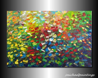 Impressionism Abstract Wildflower Flowers Palette Knife Painting on Canvas Contemporary Flowers Colorful Vivid Landscape 24x36 JMichael