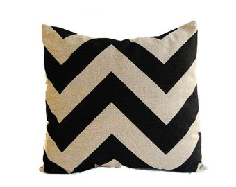 Pillow cover One chevron black and beige pillow cushion cover