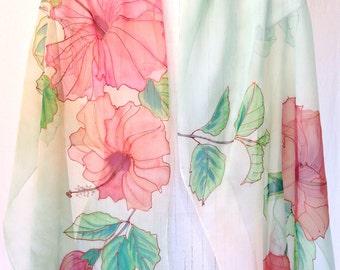 Silk Scarf Women, Hand Painted Silk Shawl, Silk Scarf Green, Pink and Orange Hibiscus, Large Silk Scarf, Takuyo, 20x89 inch. Made to order.