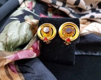 Classic & Elegant Glass Citrine Clip Earrings