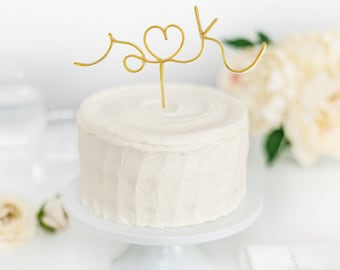 Initials cake topper, wedding cake topper, rustic wedding cake topper,wire cake topper,wire initials, wired twist, wire,custom cake topper