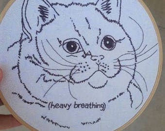Hand Embroidered Hoop 'Heavy Breathing' Cat Meme embroidery- Wall art