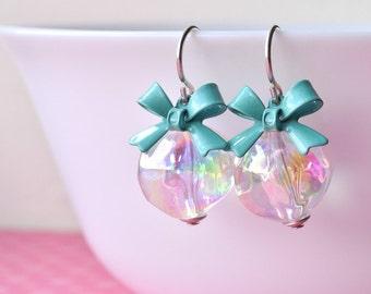 Clear Earrings - Bead Dangle Earrings - Silver Earrings - Soap Bubbles - Sterling Silver - Clear Beads -  Bow Earrings - UK Earrings