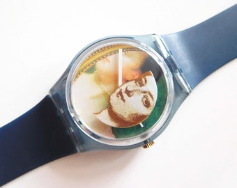 Swatch 'The Lady & the Mirror' GN170 watch, 3D effect Baroque painting dial, 1990s Miran Fukuda design, good used condition // 32 USD