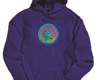 Grateful Dead Hoodie/ Dancing Bear with hearts/ Screenprinted on a Purple Heavyweight Hoodie/ Dead and Co.