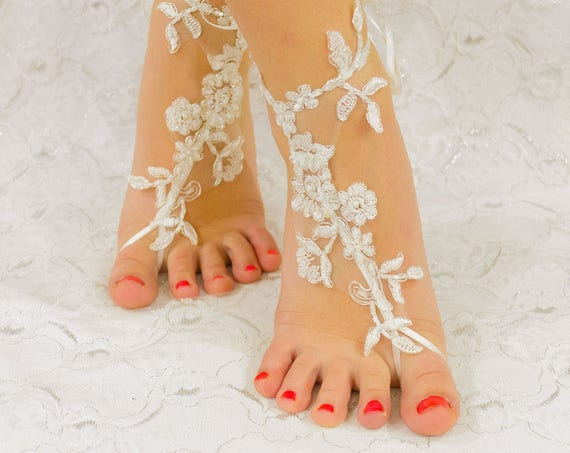 Barefoot Sandles, Beach wedding shoes lace, beach wedding barefoot shoes, beach anklets