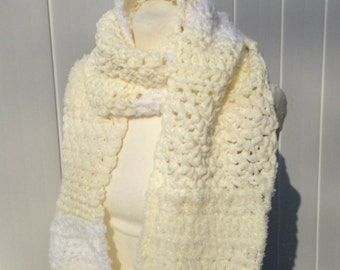 Extra Long Scarf Shades of White and Cream Crochet Oversized Handmade  Soft and Fluffy