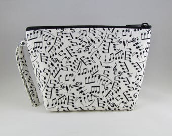 Music Notes Makeup Bag - Accessory - Cosmetic Bag - Pouch - Toiletry Bag - Gift