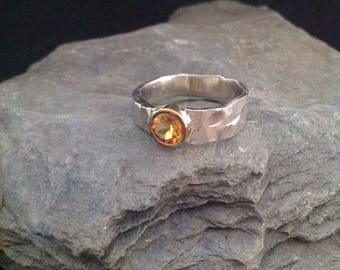 Beautiful silver ring 935er with Madeira Citrine in gold version 585er