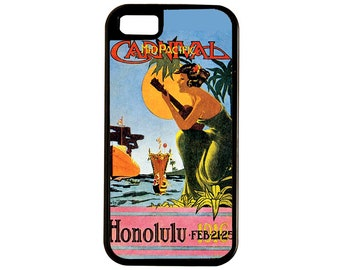 Hawaiian Lady Plays Guitar, Palm Trees Overhead, Blue Sky, Outrigger Canoe, Ocean, Jump In But Wait, It's 1916  iPhone and Samsung cases