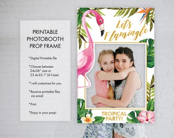Flamingo Photo Booth Prop Frame, Pink Flamingo Tropical Party Birthday Decoration Photo Prop, Print Your Own
