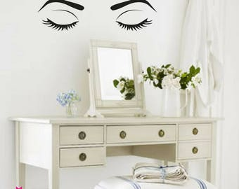 WALL DECAL:  Her Eyes - Makeup Vanity Wall Decal Sticker