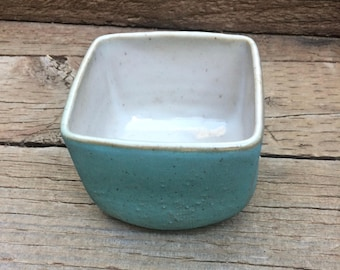 Rustic Square Textured Bowl with Homemade Glazes.