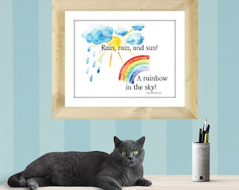 """Downloadable, """"Rain, rain, and sun! A rainbow in the sky!"""" Alfred Lord Tennyson quote coupled with watercolor images Lemon Drop Images"""