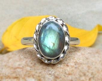 Labradorite Ring 925 Silver Ring Labradorite Jewelry Gift Jewelry Handcrafted Gemstone Ring Oval Labradorite Ring size 4 5 6 7 8 9 10 11 12