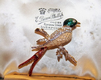 Beautiful Vintage Enamel & Rhinestone Bird on Branch