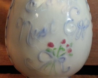 Vintage Baby's Nest Egg Piggy Bank, Hand Painted Ceramic Coin Bank