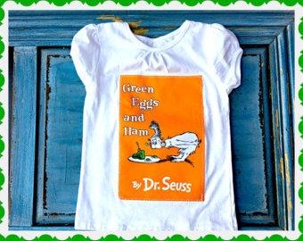 girls boys Green Egg's and Ham shirt authorized Robert Kaufman fabric 2T 3T 4T 4/5 6/6X 7/8 10/12 14/16 S M L XL 2X 3X
