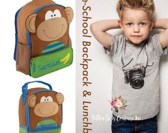 Monkey Backpack / personalized toddler backpack / preschool backpack / toddler backpack / lunchbox SIDEKICK