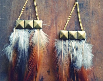 Pyramid Feather Earrings/ Brown Feather Earrings/ Dangle Earrings/ Natural Feather Earrings/ Bohemian Earrings/ Festival Jewelry/ Hippie