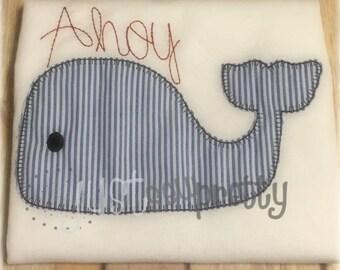 Vintage Blanket Ahoy Whale Applique Embroidery Design