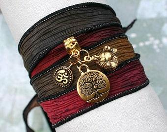 Hand Dyed Silk Ribbon Wrap Bracelet Navajo Trail Tree of Life, Om, Ohm, Yoga Jewelry