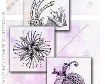 PLUM WATERCOLOR ZENTANGLE Tiles - Printable Download Collage Sheet 6 Digital Cards 3.5x3.5 inches