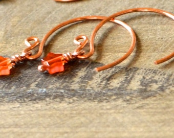 Hand Forged Copper Earrings with Blue Howlite or Agate Stars.