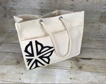 Rochester New York Canvas Tote with Rope Handles