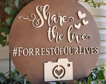 Hashtag Sign - Wooden Wedding Hashtag Sign - Share The Love Sign