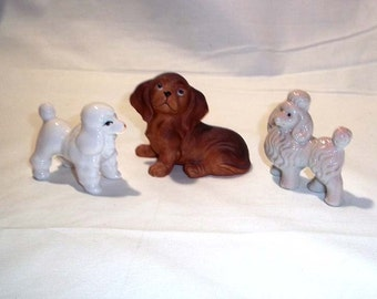 Lot of 3 Vintage Dog Figurines - Homco Puppy No. 1467, Early Japan Poodle and a Bone China Poodle