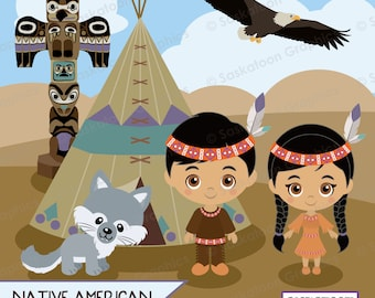 Native American People Clipart - Instant Download File - Digital Graphics - Crafts, Web Design - Commercial & Personal Use -#C003