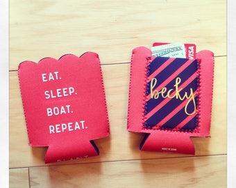 Personalized Eat. Sleep. Boat. Repeat insulated drink hugger with pocket