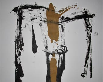 """Abstract Minimal  No.10016 Acrylic on Paper 24x18"""" Modern Industrial"""
