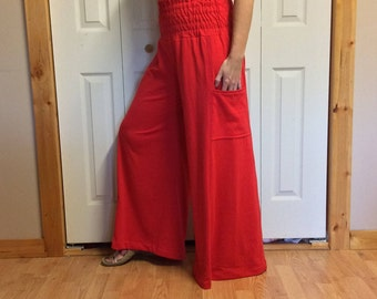 High Waisted Red Palazzo Pants with Pockets/Long Skirt Pants/Wide Leg Pants/Sailor Pants/Circus Pants/Knit Pants/Boho/Womens Size Large