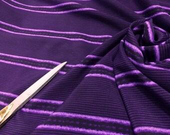100% Crinkle Polyester Purple /Lilac Stripe /Dress/Crafts Fabric