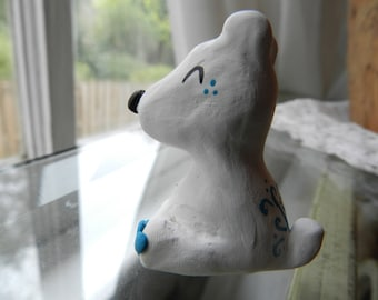 Winter Polar Bear Clay Figurine, Handcrafted from Top Quality Polymer Clay