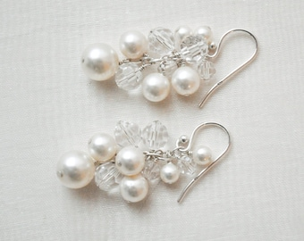 Pearl Wedding Earrings, Pearl Bridal Jewelry, Pearl and Crystal Earrings, Swarovski Wedding Earrings